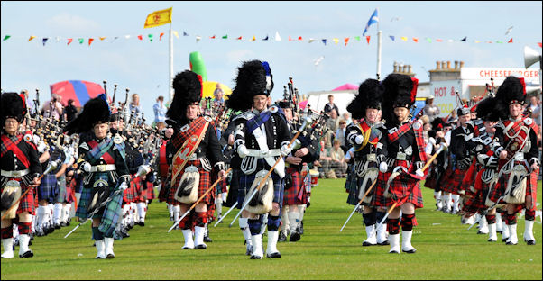 Pipe band at Nairn Highland Games, Scotland