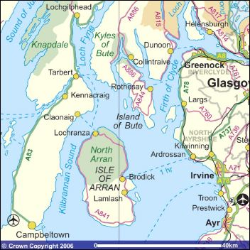 Map of Argyll and Arran