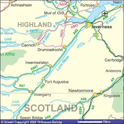 Loch Ness and Inverness Location Map